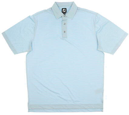 New Mens Footjoy Golf Polo Large L Blue/Pink MSRP $135 28544