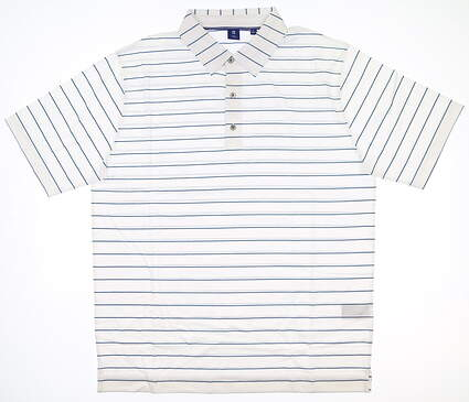 New Mens Footjoy 1857 Golf Polo Large L White/ Blue MSRP $135
