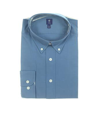 New Mens Footjoy 1857 Stretch Cotton Twill Button Up Large L Blue MSRP $165