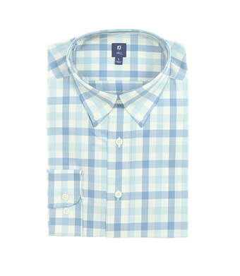 New Mens Footjoy 1857 Stretch Cotton Twill Button Up Large Blue/ White MSRP $165