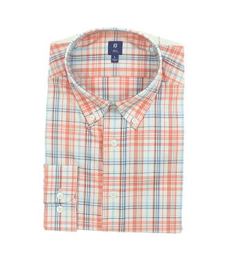 New Mens Footjoy 1857 Stretch Cotton Twill Button Up Large Coral Plaid MSRP $165