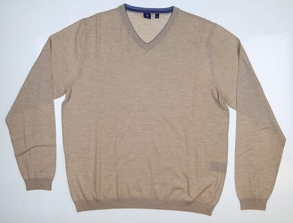 New Mens Footjoy 1857 Cashmere Double Layer Sweater Large L Tan MSRP $325