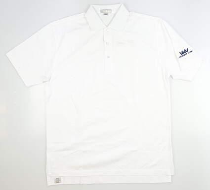 New W/ Logo Mens Peter Millar Golf Polo Medium M White MSRP $60