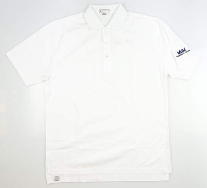 New W/ Logo Mens Peter Millar Golf Polo Large L White MSRP $60