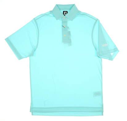 New W/ Logo Mens Footjoy Diamond jacquard Polo Medium M Aqua MSRP $75 25764