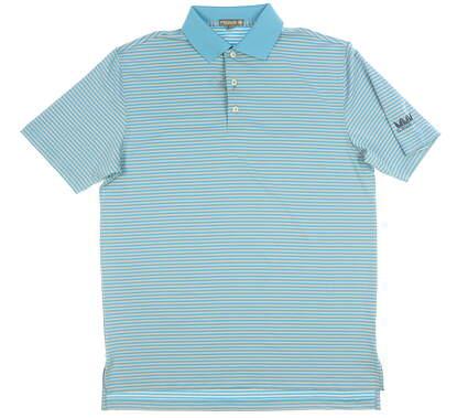 New W/ Logo Mens Peter Millar Golf Polo Medium M Blue MSRP $92