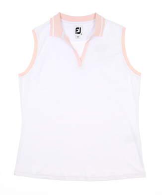 New Womens Footjoy Open Placket Sleeveless Polo Medium M White MSRP $75 27486