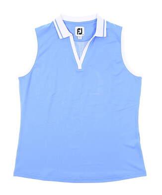 New Womens Footjoy Open Placket Sleeveless Polo Medium M Blue MSRP $75 27486