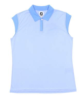 New Womens Footjoy Cap Sleeve Pinstripe Sleeveless Polo Medium M Blue MSRP $72