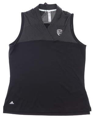 New Womens Adidas Sleeveless Polo X-Large XL Black MSRP $60 FK0621