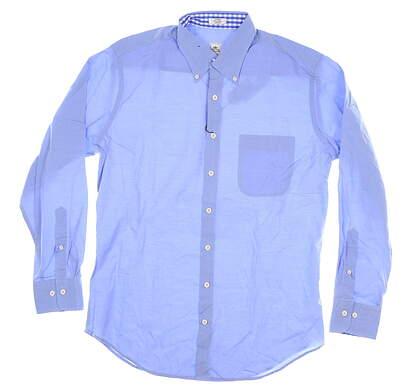 New Mens Peter Millar Woven Button Down Medium M Blue MSRP $120