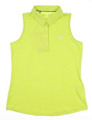 New W/ Logo Womens Under Armour Sleeveless Polo Medium M Green MSRP $70