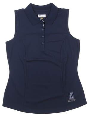 New W/ Logo Womens Greg Norman Sleeveless Polo Small S Navy Blue MSRP $39