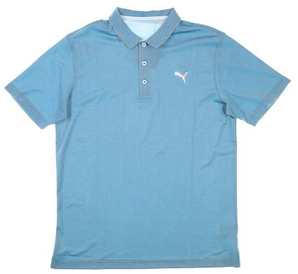 New Mens Puma Mattr Thursday Polo Medium M Ocean Depths MSRP $75 599561