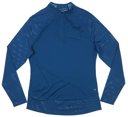 New Womens Puma Mesh 1/4 Zip Pullover Small S Digi Blue MSRP $70 595848