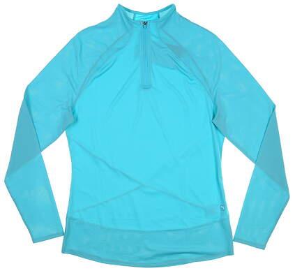 New Womens Puma Mesh 1/4 Zip Pullover Small S Scuba Blue MSRP $70 595848