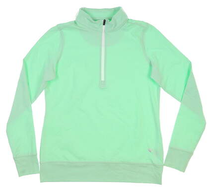 New Womens Straight Down Skye 1/4 Zip Pullover Small S Green MSRP $104 W60303