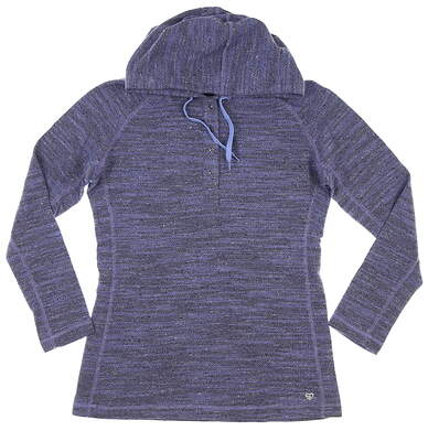 New Womens Straight Down Button Up Pullover Large L Blue MSRP $98 W14214