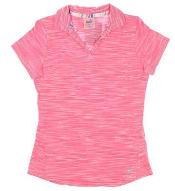 New Womens Puma Slub Golf Polo Small S Rapture Rose MSRP $60 595824 01