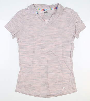 New Womens Puma Slub Golf Polo Small S Rosewater MSRP $60 595824 03