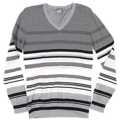 New Womens Puma Depths V-Neck Sweater Small S Black/White MSRP $70 572551 01