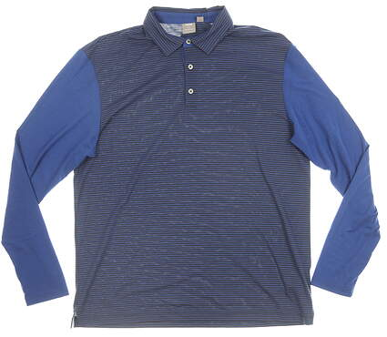 New W/ Logo Mens Ping Long Sleeve Polo Medium M Blue MSRP $90 P03278