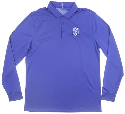 New W/ Logo Mens Nike Long Sleeve Polo Medium M Blue MSRP $60 725514