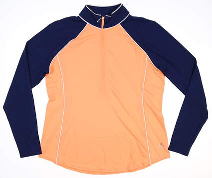 New Womens Jo Fit 1/4 Zip Pullover Large L Orange MSRP $80 UT229