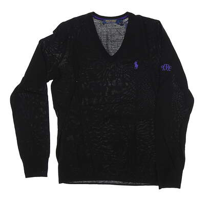 New W/ Logo Womens Ralph Lauren Sweater Large L Black MSRP $120