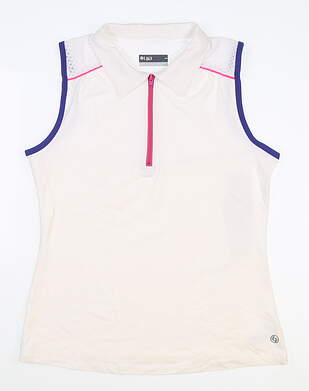 New Womens Lija Sleeveless Golf Polo Medium M White MSRP $110 19S-1591G3