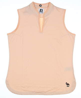 New W/ Logo Womens Footjoy Sleeveless Golf Polo Medium M Orange MSRP $80