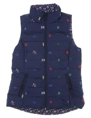New Womens Ralph Lauren Reversible Golf Vest Medium M Navy Blue MSRP $209