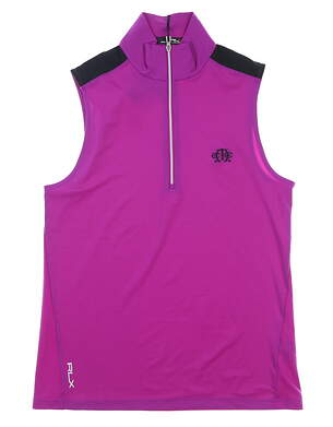 New W/ Logo Womens Ralph Lauren RLX Sleeveless Golf Polo Medium M Purple MSRP $60