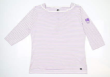 New W/ Logo Womens Footjoy Boatneck 3/4 Sleeve Polo X-Large XL Purple MSRP $75 27393