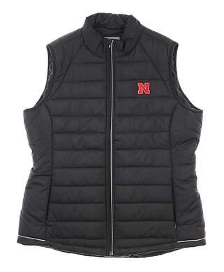 New W/ Logo Womens Cutter & Buck Husker Vest X-Large XL Black MSRP $90