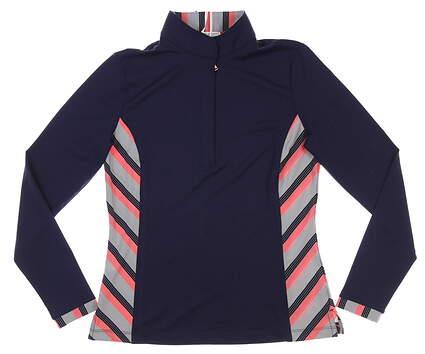 New Womens Fairway & Greene Mindy 1/4 Zip Pullover Small S Navy Blue MSRP $110 K32229