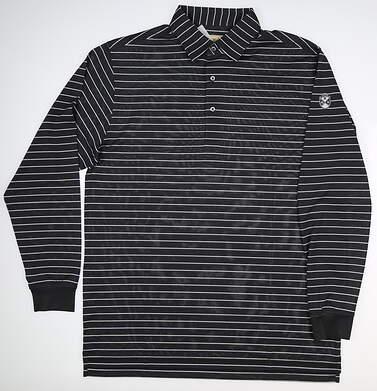 New W/ Logo Mens DONALD ROSS Long Sleeve Golf Polo Medium M Gray MSRP $100 DR534