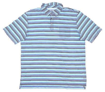 New W/ Logo Mens Peter Millar Cotton Golf Polo X-Large XL Blue MSRP $90