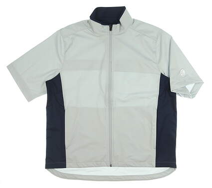New W/ Logo Mens Greg Norman Short Sleeve Rain Jacket Large L Gray/Navy Blue MSRP $120