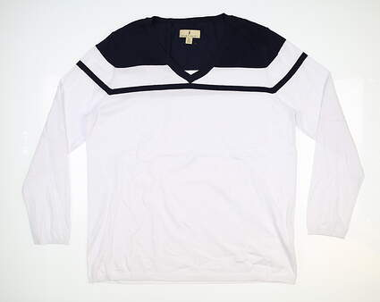 New Womens Sport Haley Harbor Sweater X-Large XL White/Navy MSRP $100