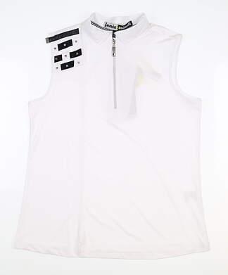 New Womens Jamie Sadock Sleeveless Golf Polo Medium M White MSRP $89