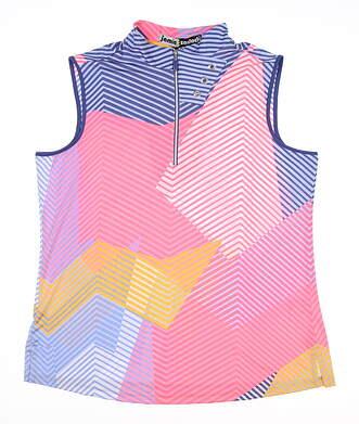 New Womens Jamie Sadock Sleeveless Golf Polo Medium M Multi MSRP $89