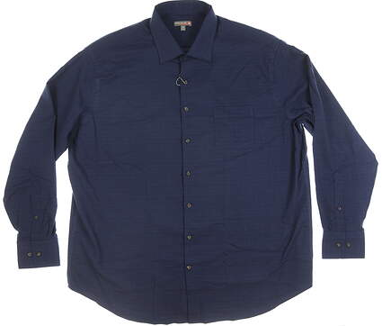 New Mens Peter Millar Button Up XX-Large XXL Navy Blue MSRP $120