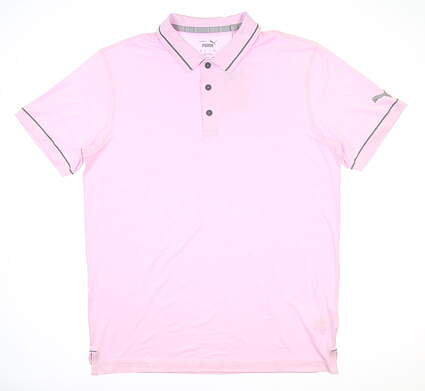 New Mens Puma Cloudspun Monarch Polo Medium M Pink Lady MSRP $65 599117 05