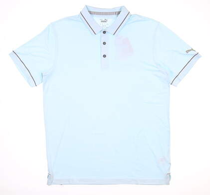 New Mens Puma Cloudspun Monarch Polo Medium M Blue Glow MSRP $65 599117 06