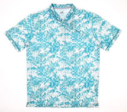 New Mens Puma Tech Pique Botanical Polo Medium M Blue Spruce MSRP $75 599114 06