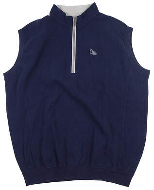 New W/ Logo Mens Straight Down Golf Vest XX-Large XXL Navy Blue MSRP $125