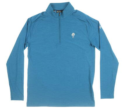 New W/ Logo Mens Under Armour 1/4 Zip Golf Pullover Small S Blue MSRP $86 UM1278