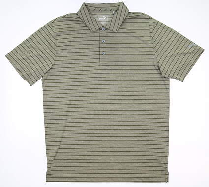 New Mens Puma Rotation Stripe Polo Medium M Deep Lichen Green MSRP $70 577974 22