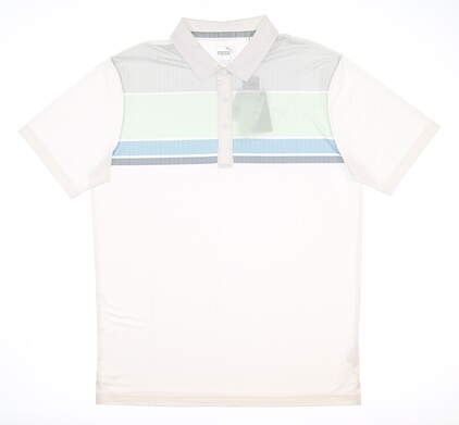 New Mens Puma Road Map Polo Medium M Mist Green/ Ibiza Blue MSRP $65 595788 05
